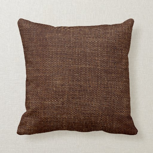 Burlap Simple Chocolate Brown Throw Pillow Zazzle