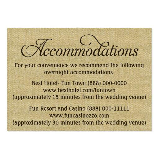 Wedding Hotel Information Card Template Products 187