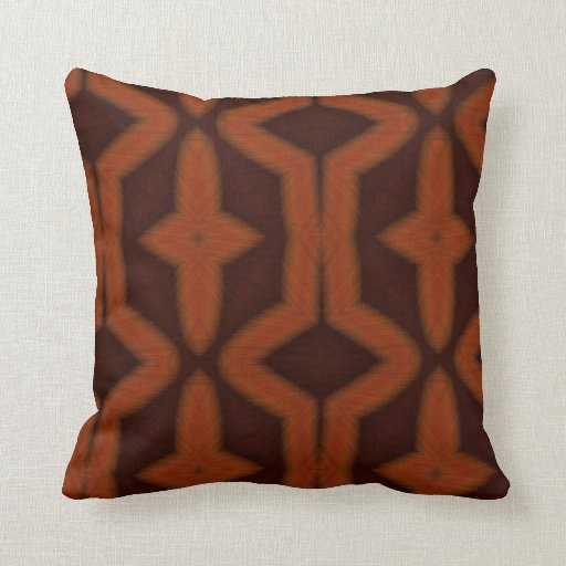 What Color Compliments Burnt Orange: Burnt Orange Native Art Pattern Pillow