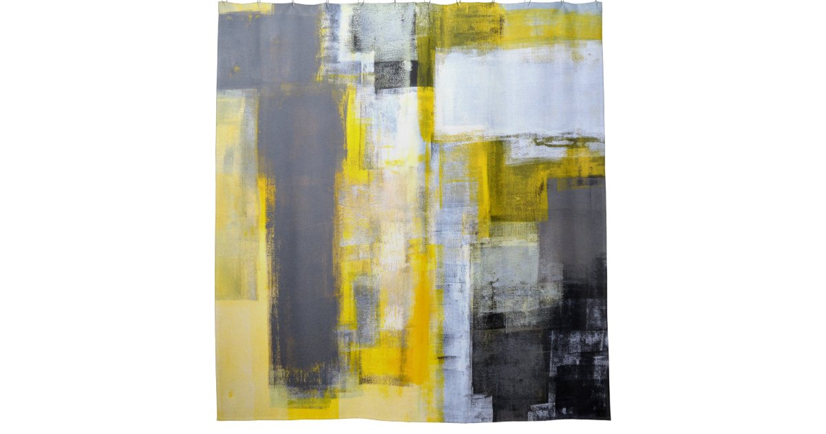 'Busy, Busy' Grey And Yellow Abstract Art Shower Curtain