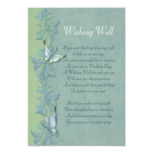 Wedding Wishing Well Invitations: Butterfly Flight Floral Wishing Well Card