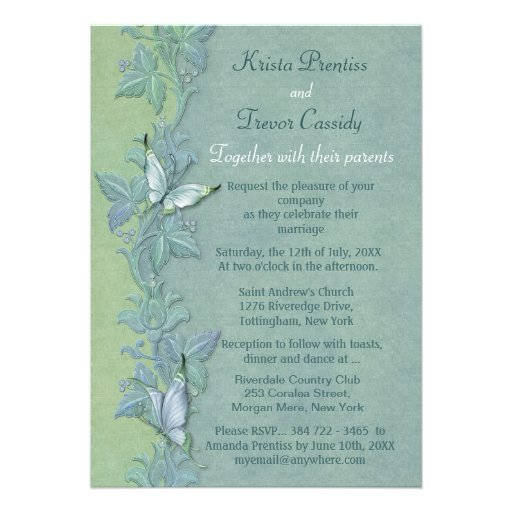 Butterfly Themed Wedding Invitations: Butterfly Flight Floral Wedding Invitation
