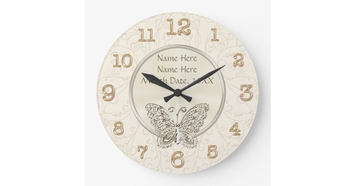 Clock Wedding Gift: Butterfly Themed Wedding Gifts PERSONALIZED Large Clock