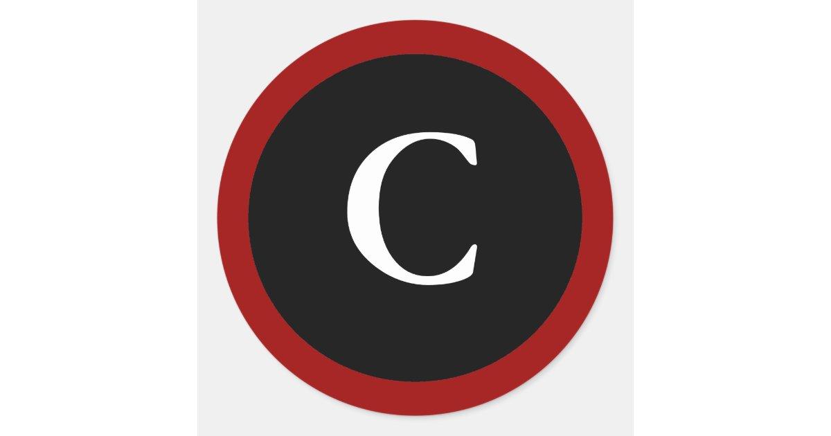 c initial c letter c white black stickers zazzle