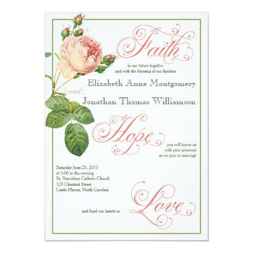 Christian Wording For Wedding Invitations: Cabbage Rose Christian Wedding Invitation