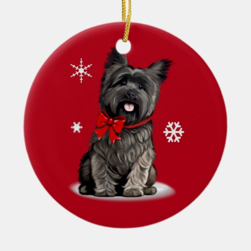 Cairn Terrier at Christmas Ceramic Ornament | Zazzle