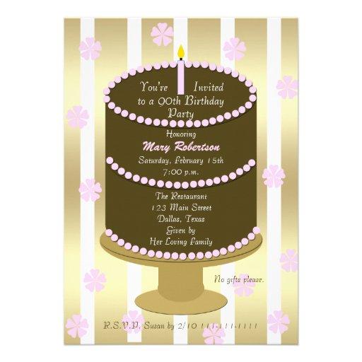 Cake 90th Birthday Party Invitation