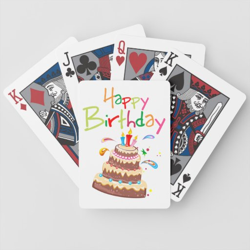 Cake Happy Birthday Bicycle Playing Cards