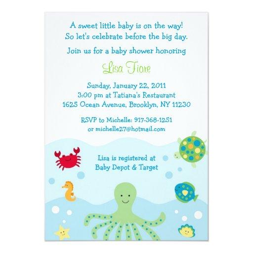 Fish Themed Baby Shower Invitations: Calypso Sea Creature Ocean Baby Shower Invitations