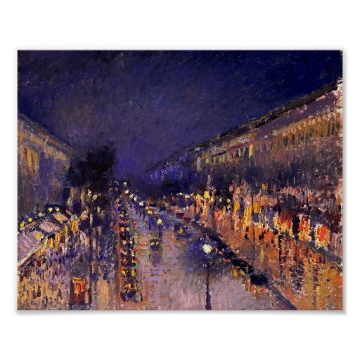 camille pissarro the boulevard montmartre at night poster zazzle. Black Bedroom Furniture Sets. Home Design Ideas