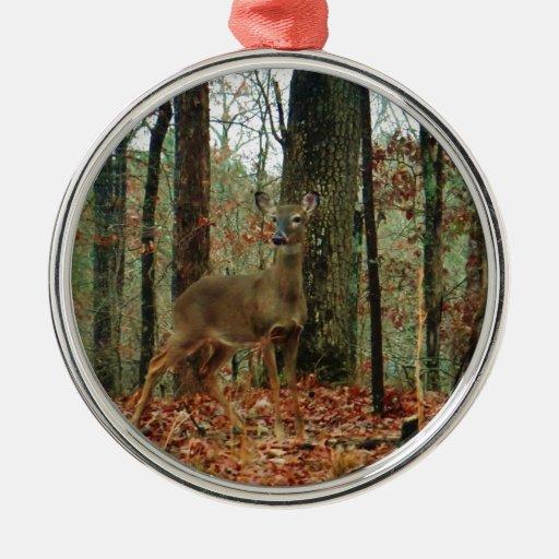 Camo,Camouflage Deer Round Metal Christmas Ornament