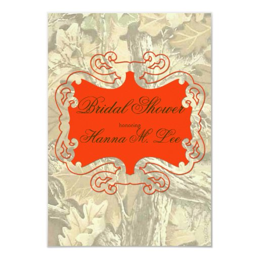 Elegant Camo Wedding Ideas: Camo Elegant Orange Bridal Shower Invitation