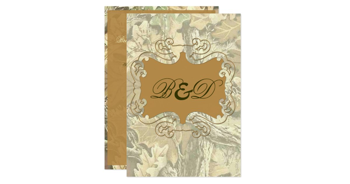 Camouflage Wedding Invitation Kits: Camo Elegant Orange Wedding Invitation