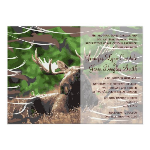 Hunting Camo Wedding Ideas: Camo Moose Hunting Theme Wedding Invitations