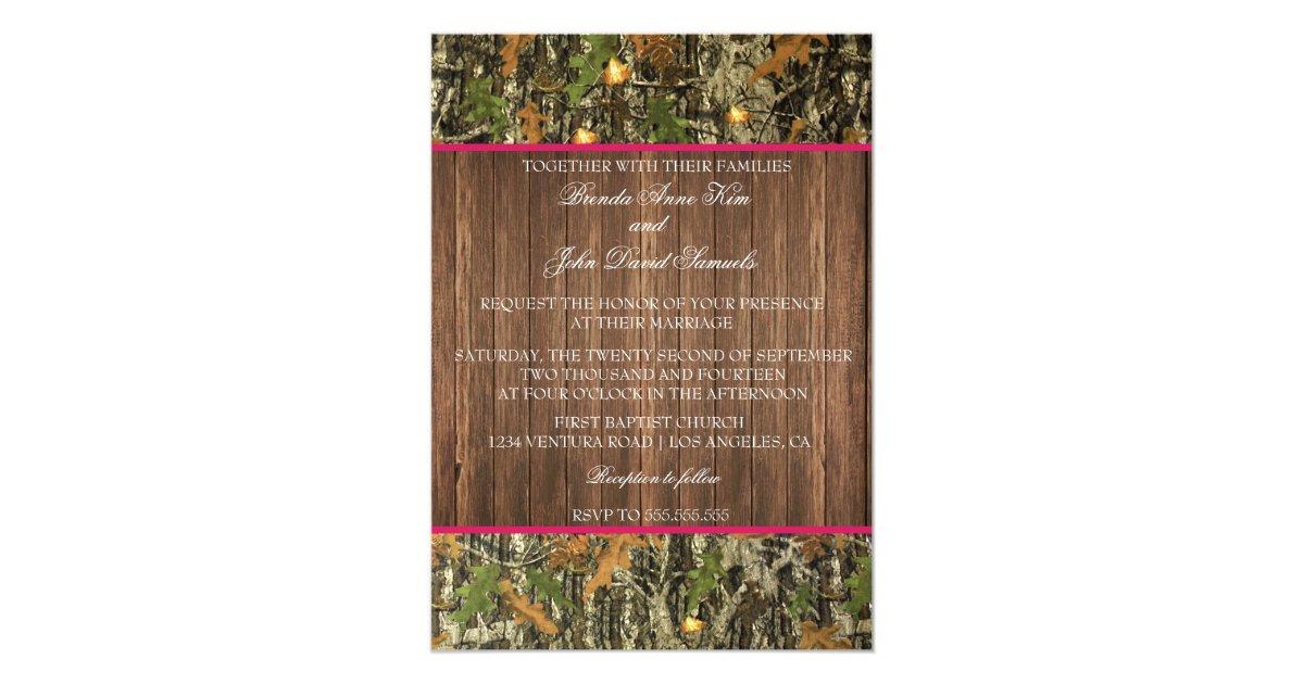 Camouflage Wedding Invitation Kits: Camo Rustic Wedding Invitation
