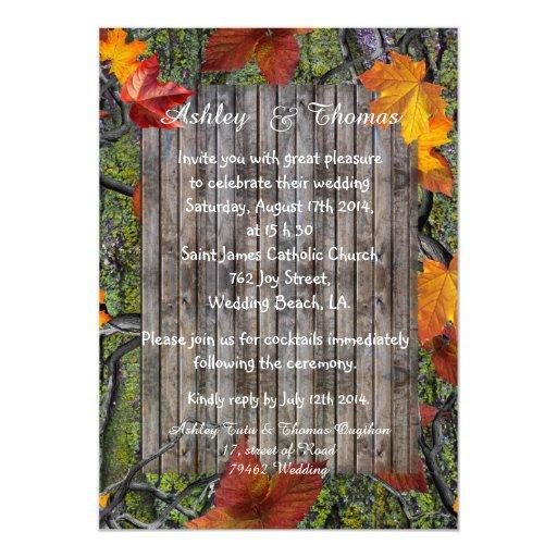 Fall Themed Wedding Invitations: Camo Rustic Wood Fall Leaves Wedding Card