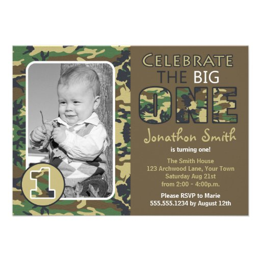 Camouflage / Camo Theme First Birthday 4.5x6.25 Paper