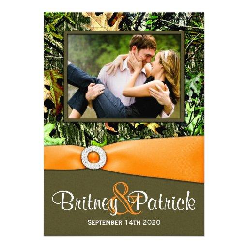 "Hunting Camo Wedding Ideas: Camouflage Orange Hunting Camo Wedding Invitations 5"" X 7"