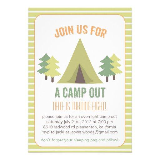 "Camp Out. Birthday Invitation 5"" X 7"" Invitation Card"