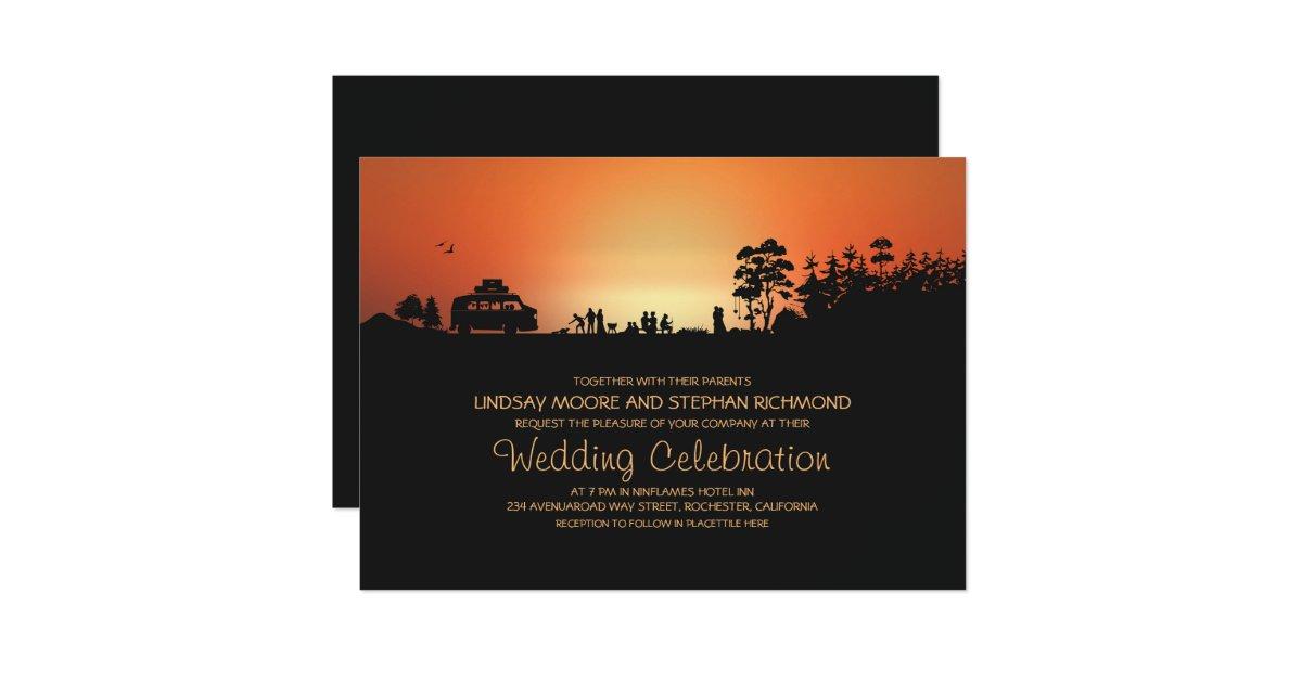 Camping Wedding Invitations: Camper Van Camping Wedding Invitations