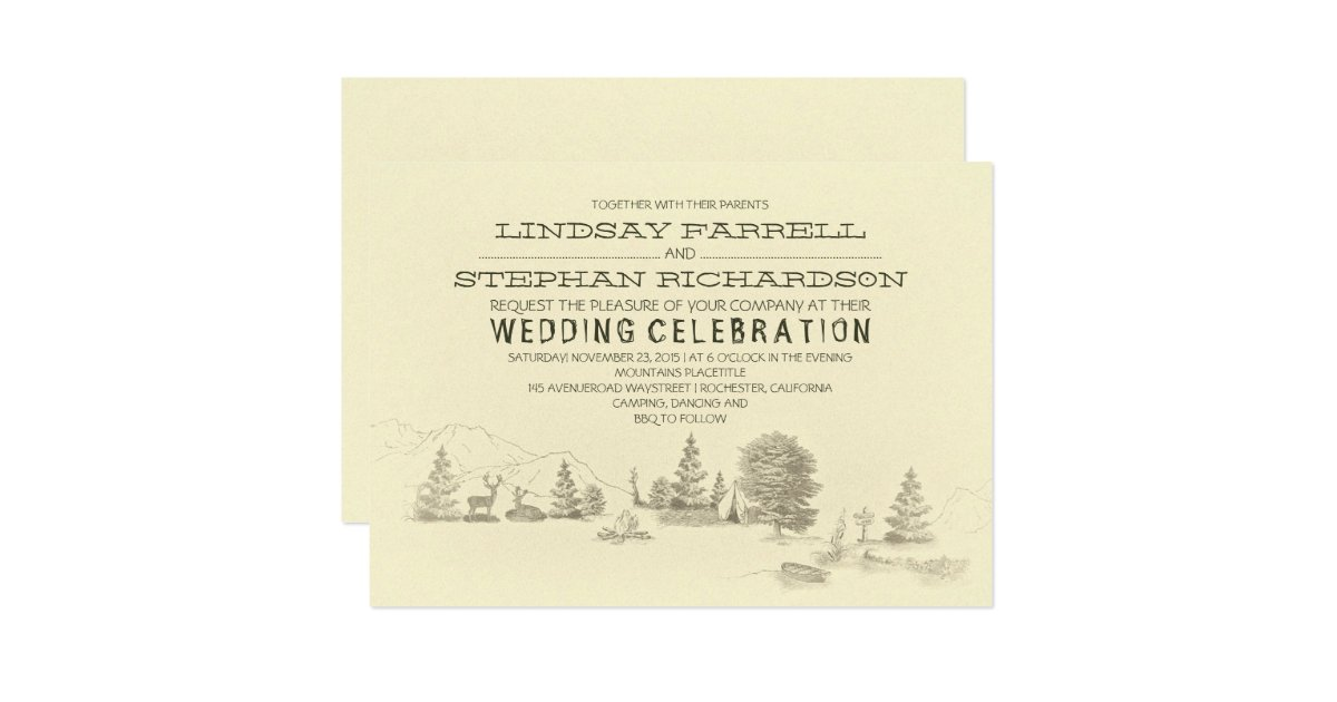 Camping Wedding Invitations: Campground Illustration Camping Wedding Invitation