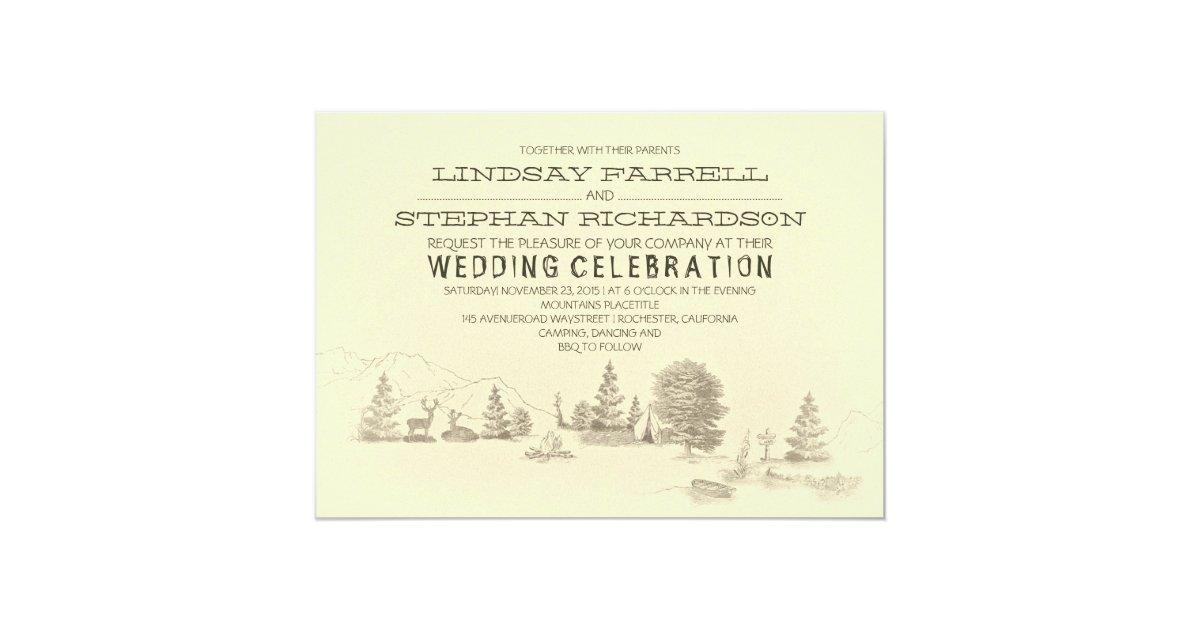 Camping Wedding Invitations: Campground Illustration Camping Wedding Invitation