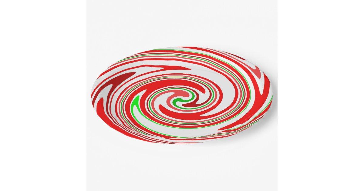 Candy Cane Swirl Red White Green Festive Paper Plate Zazzle