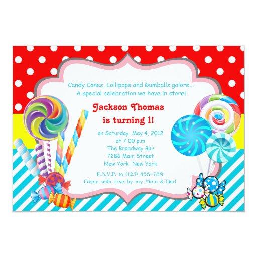 Candyland Candy Theme Birthday Invitation