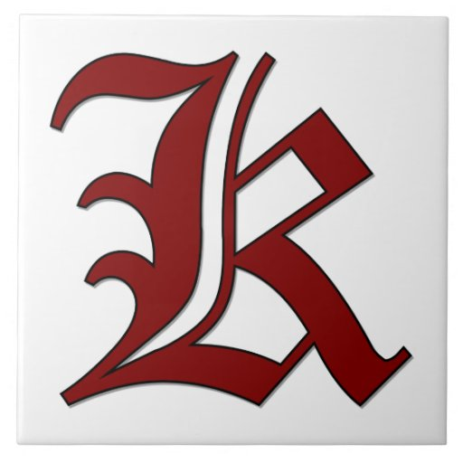 Canterbury Letter K in Red Monogram Tile | Zazzle