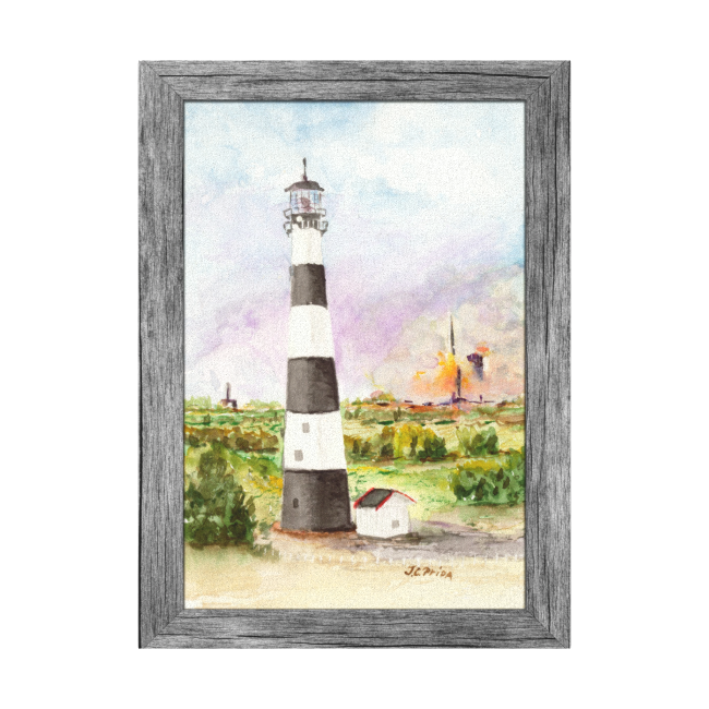 Cape Canaveral Lighthouse Rocket Launch Watercolor Canvas Prints