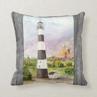 Cape Canaveral Lighthouse Rocket Launch Watercolor Pillow