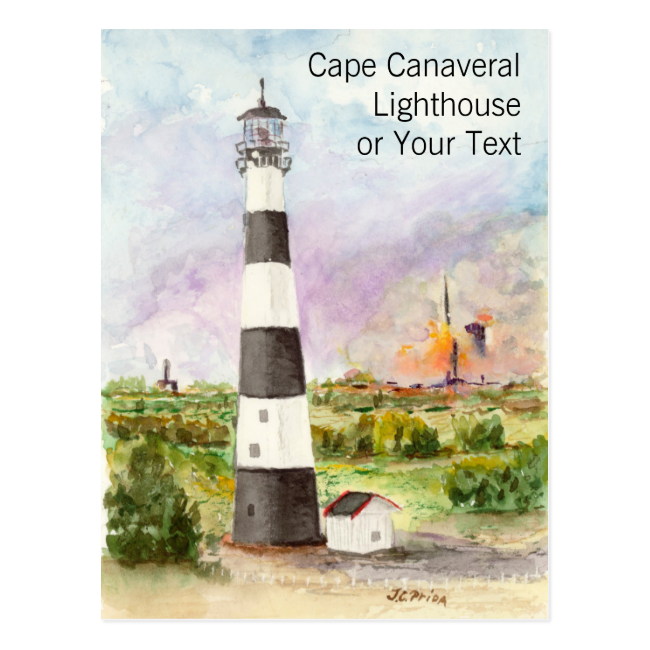 Cape Canaveral Lighthouse Rocket Launch Watercolor Postcard