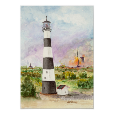 Cape Canaveral Lighthouse Rocket Launch Watercolor Posters