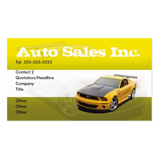 Classy Auto Sales Car Dealer Dealership Business Card ...  Car Sales Business Cards