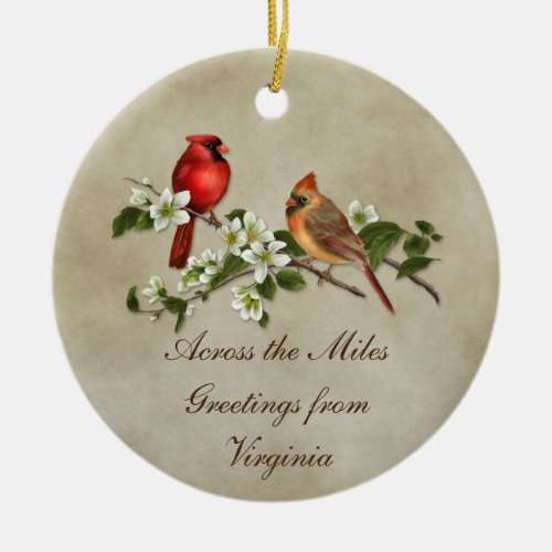 Cardinals Dogwoods Across The Miles Christmas Ceramic Ornament