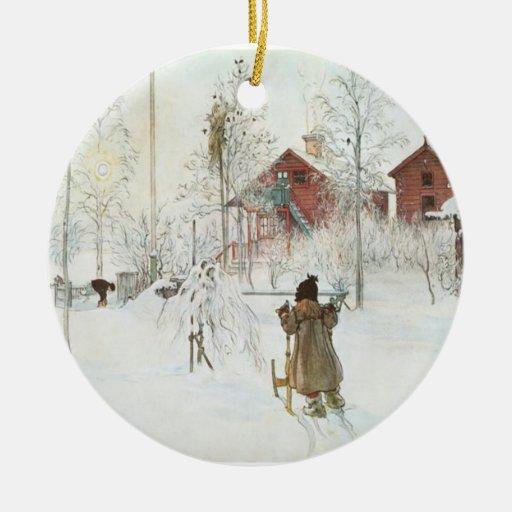 Christmas Tree Sweden: Carl Larsson Christmas In Sweden Ceramic Ornament