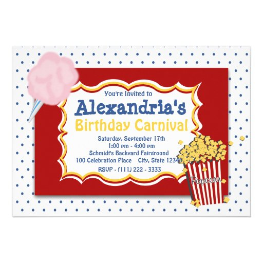 Carnival Birthday Primary Colors Personalized Invites