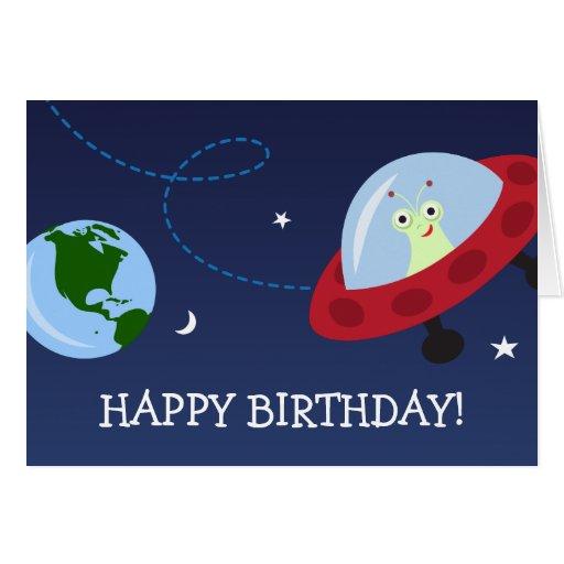 Cartoon Alien With Spaceship Happy Birthday Card