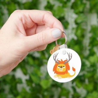 Cartoon Antlered Lion keychain keychain
