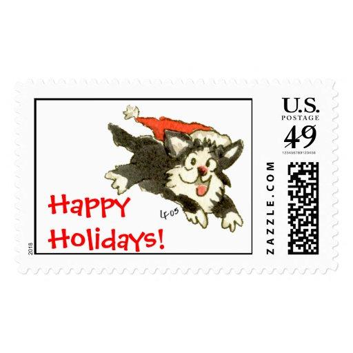 Cartoon Christmas Kitten Cat Happy Holidays! Postage