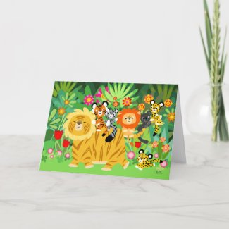 Cartoon Liger and Friends Greeting Card card