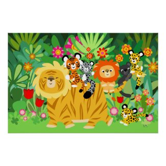Cartoon Liger and Friends poster print