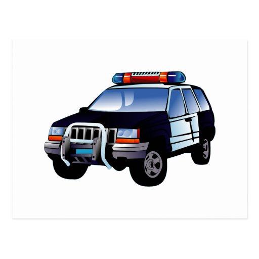 Cartoon Police Car Postcard