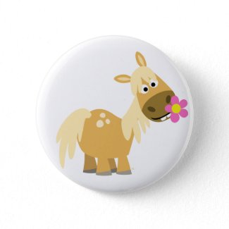 Cartoon Pony and Flower button badge button