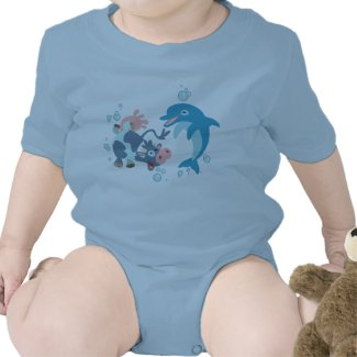 Cartoon Seacow and Dolphin baby apparel shirt