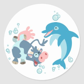 Cartoon Seacow and Dolphin sticker sticker