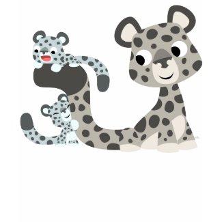 Cartoon Snow Leopard and Cubs Children T-shirt shirt