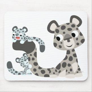 Cartoon Snow Leopard and Cubs Mousepad mousepad