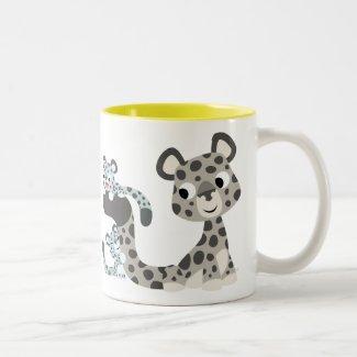 Cartoon Snow Leopard and Cubs Mug mug