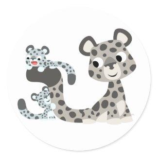 Cartoon Snow Leopard and Cubs Sticker sticker
